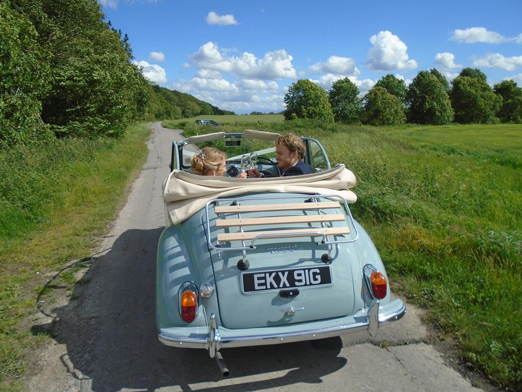 Laura Jack With Morris Minor Wedding Car 3 Wedding Car Hire